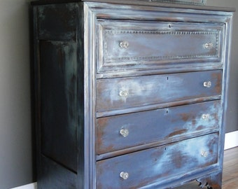 "SOLD***   Antique Large Chest of Drawers, Statement Piece in Cold Blue and Icy White ""Frostbite"" Modern Vintage"