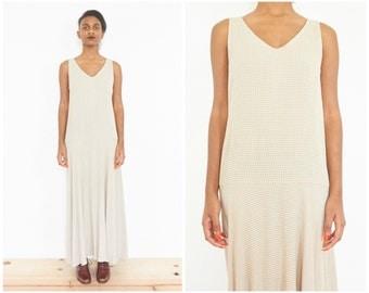 90s Sleeveless Beige Drop Waist Maxi Dress