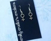 Feminist female symbol earrings surgical steel hooks