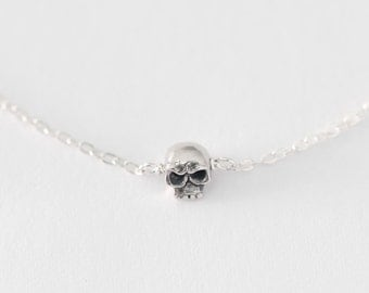 Skull Necklace - tiny skull necklace, handmade skull necklace, solid sterling silver skull necklace