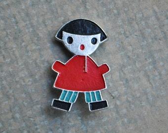"Vintage Soviet Russian aluminum badge,pin.""Russian Boy"""
