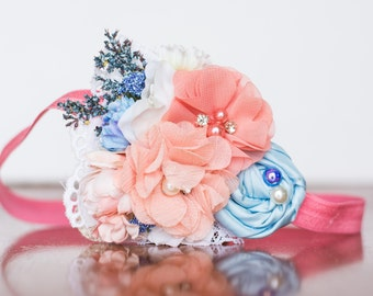 Spring Headband in coral and periwinkle - M2M Lakehouse - Newborn Photo Prop - Birthday - Baby Headband - Couture