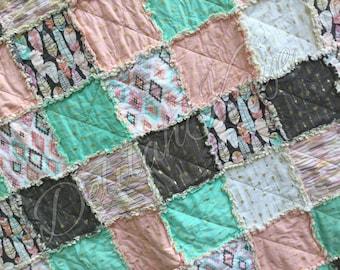 Queen Size Rag Quilt - Arrow Flight - Mint - Gray - Blush - Metallic - Modern Handmade Bedding