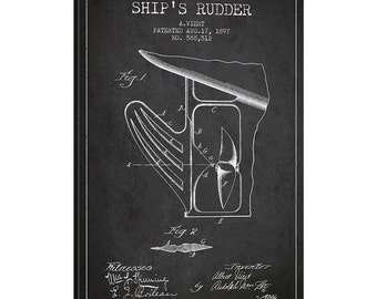 iCanvas Rudder Charcoal Patent Blueprint Gallery Wrapped Canvas Art Print by Aged Pixel - ADP2615-1PC3-12x8