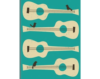 iCanvas Birds On A Guitar (Blue) Gallery Wrapped Canvas Art Print by Jazzberry Blue
