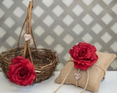 Red Rose Twig round personalized wedding large rustic flower girl basket and ring bearer pillow. Customize with flower and initials
