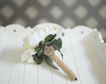 Burlap Guest book pen select flower showing cream  flower peony pen