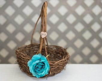 Turquoise Rose Twig round personalized wedding large rustic flower girl basket. Customize with flower and initials