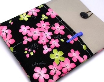 SALE - iPad Air case, iPad cover, iPad sleeve with 2 pockets, PADDED - Green and pink flowers (38)