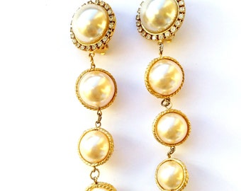 Long Glamour Pearl Rhinestone Drop Dangle Earrings Vintage Retro Bridal Fashion Jewelry