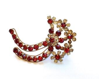 Rare Red Rhinestone Flower Brooch 1940's Antique Fashion Retro Jewelry