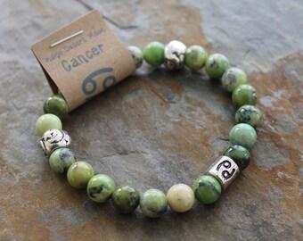 Cancer Zodiac Bracelet, Chrysoprase Bracelet, Zodiac Bracelet, Astrology Bracelet, Zodiac Jewelry, Green Stone Bracelet, Boho Bracelet