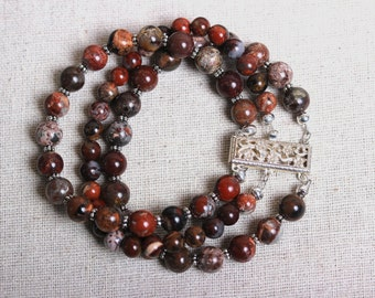 Floral Sterling Silver Box Clasp with 3 Strands of Vibrant Poppy Jasper Beads