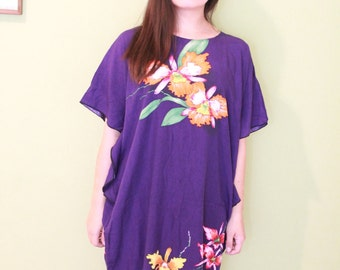 Vintage Traditional Batik Caftan Dress Floral Print