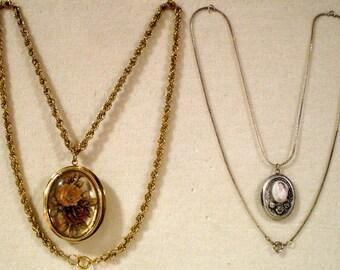 2 Gorgeous Vintage Cameo Locket Necklaces