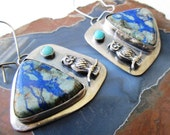 Blue and Green Azurite with Owl and Turquoise Dangle Earrings in Sterling Silver Jewelry