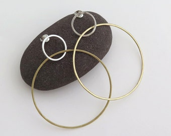 Large Hoop Earrings – 9k Gold And  Sterling Silver - Circles post earrings