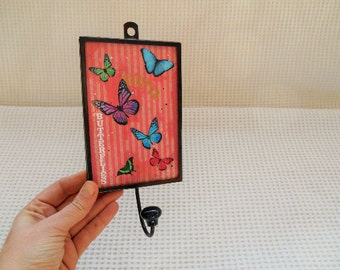 Wall Hook Decorative Butterfly  Hanging Panel Cute Kitsch Cottage Chic