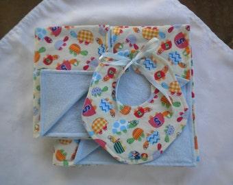 Baby boy Blanket, Burp Cloth and Bib