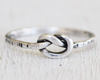 Sterling Silver Knot Ring - Metalwork - Rustic - Modern - Oxidized - Size 7 - Simple - Gift For Her