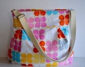 READY TO SHIP - Super Awesome Diaper Bag  - Geo Pop Canvas - Flower In Sorbet - Baby Girl - Waterproof Interior