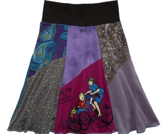 Tin Tin T-Shirt Skirt Women's XS Small Upcycled Hippie Skirt Size 0 2 4 recycled t-shirt clothing Summer Skirt Twinkle Skirts Twinklewear