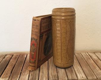 Vintage Large Arts and Crafts Handmade Vase Gold Brown Vase