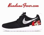 """Nike """"Minnie"""" Roshe Run Women's Black/Metallic Platinum Heels by Bandana Fever"""