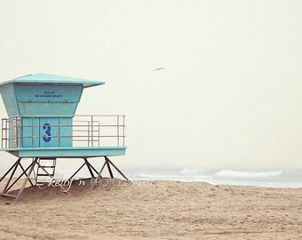 Beach Photography- Huntington Beach, Lifeguard Stand Photo, Number 3 Tower, Ocean Photography, Coastal Art, Teal Blue Tan, Beach House Decor