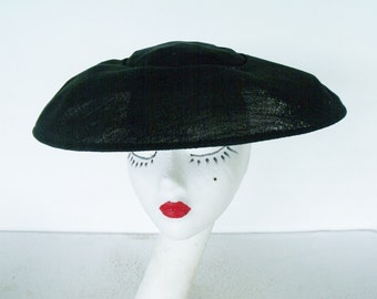 Vintage Platter or Cartwheel Hat Black Mesh Wide Brim Sun
