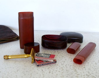 Men's Toiletry Kit Leather Travel Bag Celluloid Containers Grooming Razor Toothbrush Soap