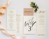 Wedding Programs and More LOVELY IN LUX Wedding Day Collection Programs, Placecards, Wedding Menus, Table Numbers, Signs, Thank You Cards