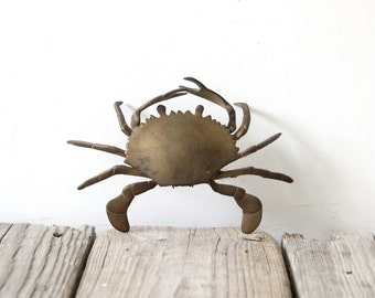 Vintage Brass Crab Box