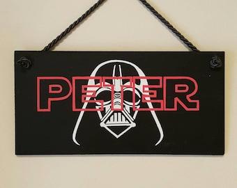 Boys Personalised Wooden Hanging Sign Plaque Door Sign Darth Vader