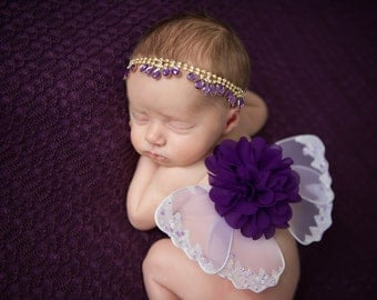 Regal Purple and Gold Butterfly Wing Set with Teardrop Rhinestone Headband for newborn photos, new baby girl, baby wings, infant wings, bebe