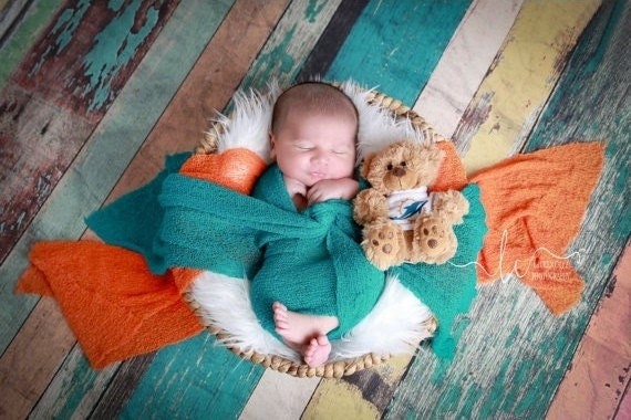 Miami Dolphin Photographer WRAP Set for Boys - Orange or Teal Swaddle Wrap-  sports, football, bebe photo, Lil Miss Sweet Pea  11/21