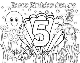 Personalized Printable Under the sea ocean Birthday Party Favor childrens kids coloring page activity PDF or JPEG file
