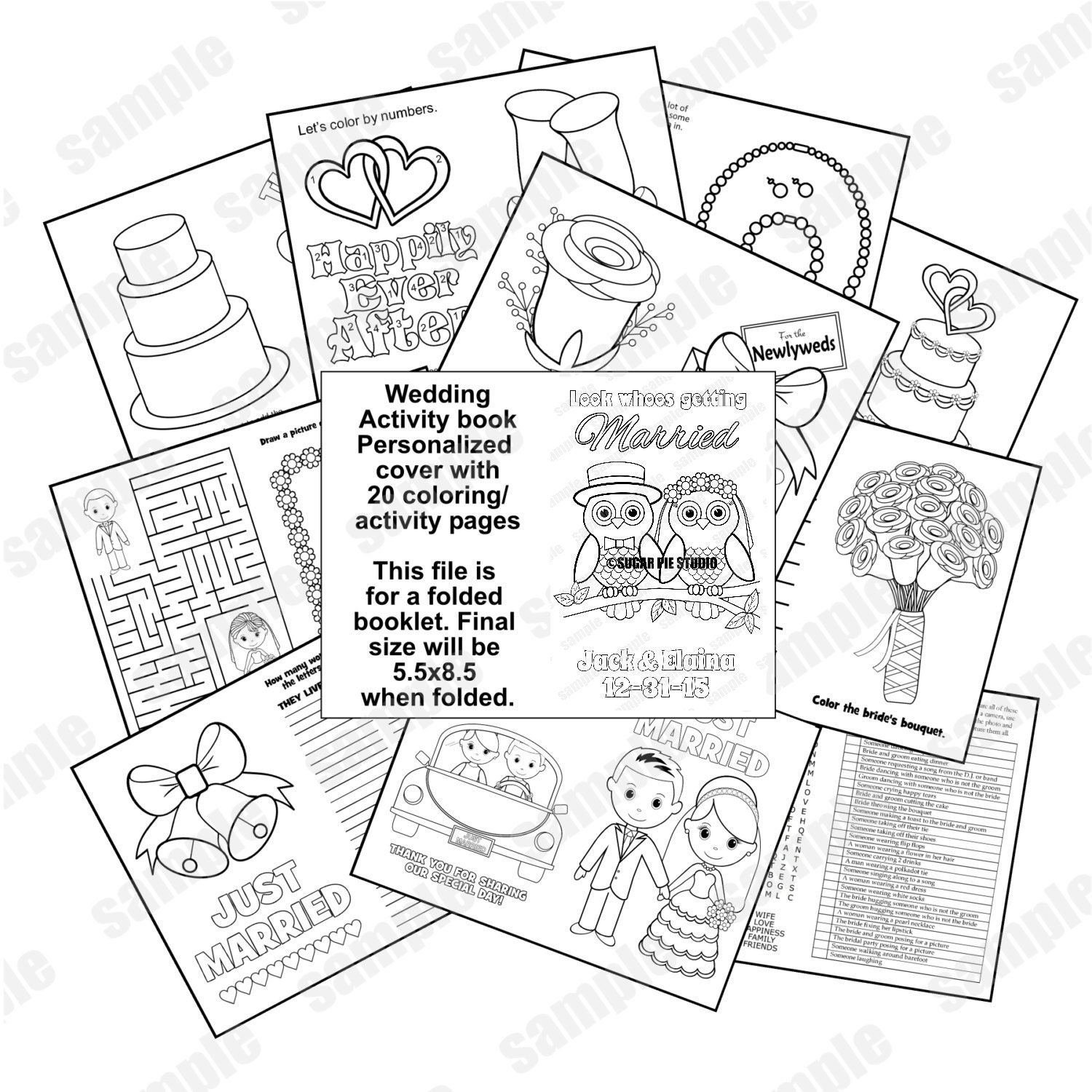 Owl Wedding Coloring Book Activity Reception Childrens Favor Kids Table Personalized PDF Or JPEG Template