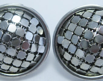 Mesh Earrings - Vintage Silver Earrings - Retro Circa 1950's - Clip-ons