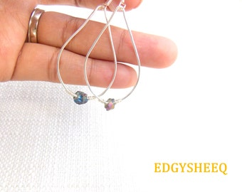 Titanium Quartz Dangle Earrings, Hand hammered Wire Wrapped Quartz Nugget Earrings, Silver Plated Gemstone Earrings, Teardrop Quartz Earring