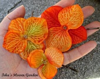 Orange hydrangea hair flower clip, orange hair flower, fall hair accessory, fall colors, autumn hair
