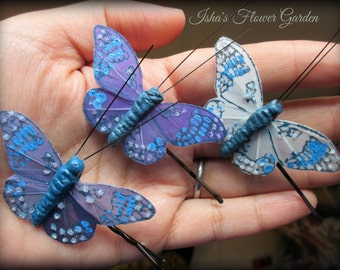 blue butterfly hair clips, butterfly accessories, set of three