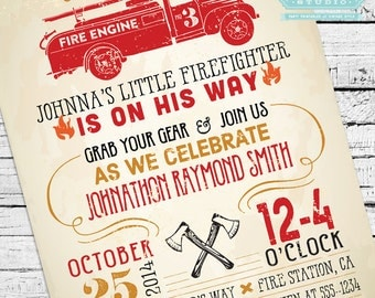 Vintage Firefighter Baby Shower Invitation + Thank You Notes