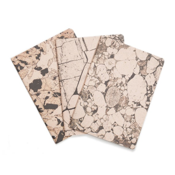 Mineral Stone lot of 3 notebooks - marbled pastel rose and black notebooks - blank - STO6001