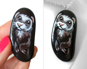 Cute Ferret Necklace, Pet Portrait Jewelry, Animal Painting, Memorial Stone, Hand Painted Rock Art, Beach Stone, Pet Loss, Keepsake Gift