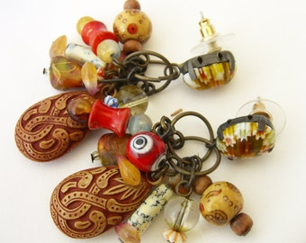 Vintage Millefiori Earrings Art Glass Carved Beads Artfully Made Jewelry
