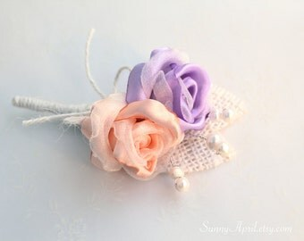 Lilac/ Lavender Peach Roses Burlap Boutonniere/ Wedding Lapel Pin/ Handmade Rustic Wedding Accessory