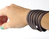 Leather Bracelet / Original Sliced Cuff / Lilac / #158
