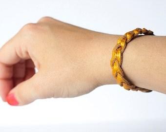 Braided Leather Bracelet / Golden Amber
