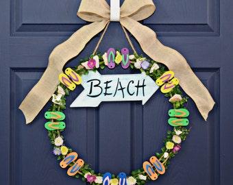 Flip Flop Wreath , Home Decor , Wreaths , Summer Wreaths , Wreaths For Doors , Indoor Outdoor Wreath , Wreath With Flip Flops , Birthdays